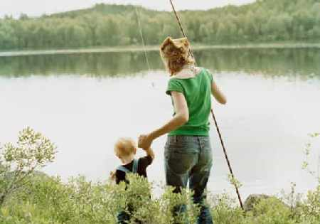 Mother and child on a fishing trip