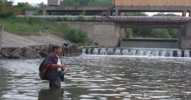 Pike fishing by spinning near a dam