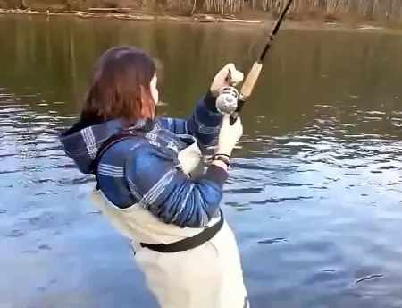 Woman and fishing
