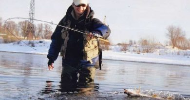Winter trout fishing on the river